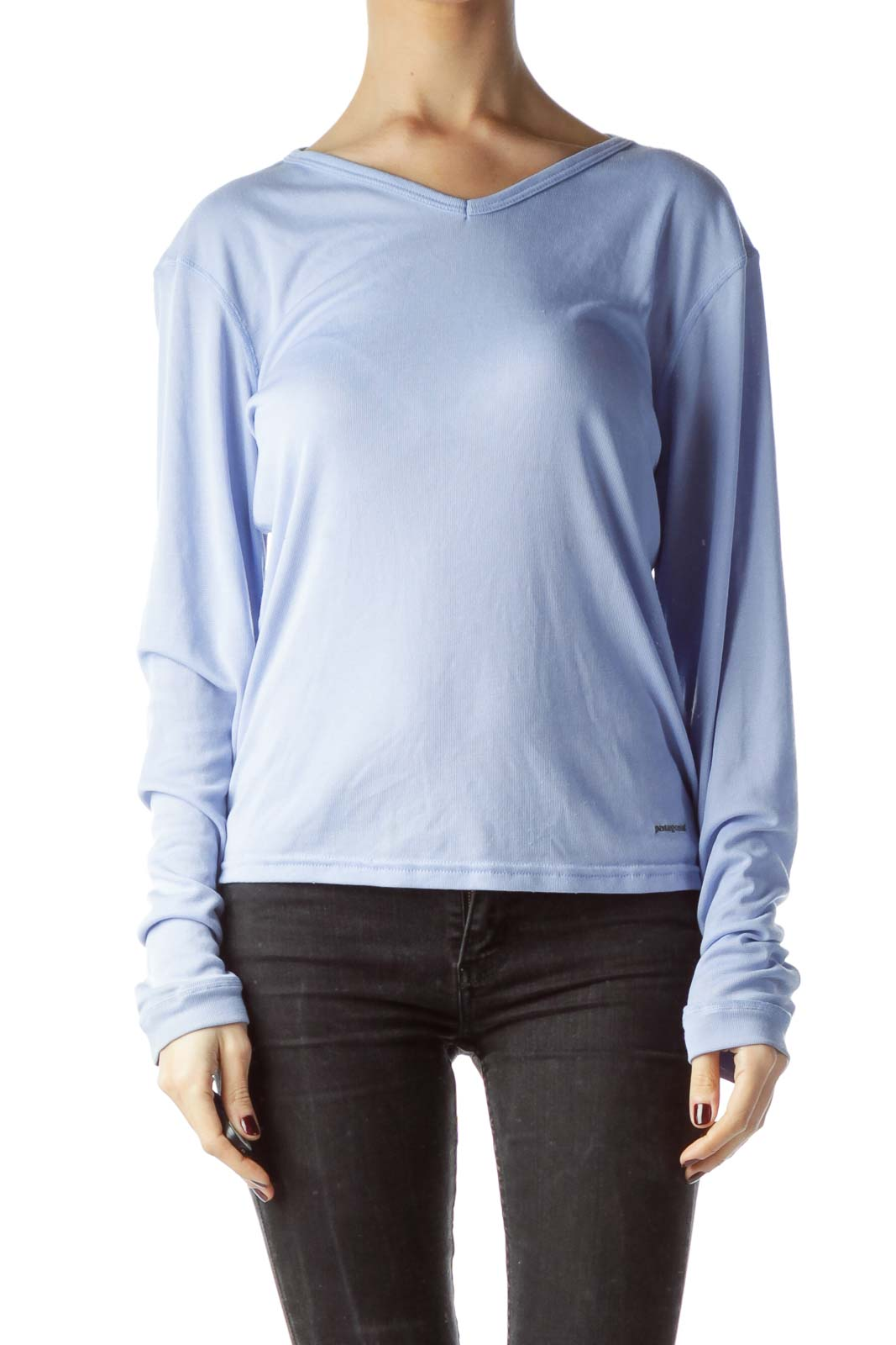 ffdf45575 Shop Baby Blue Stretch Long Sleeve Knit Top clothing and handbags at ...