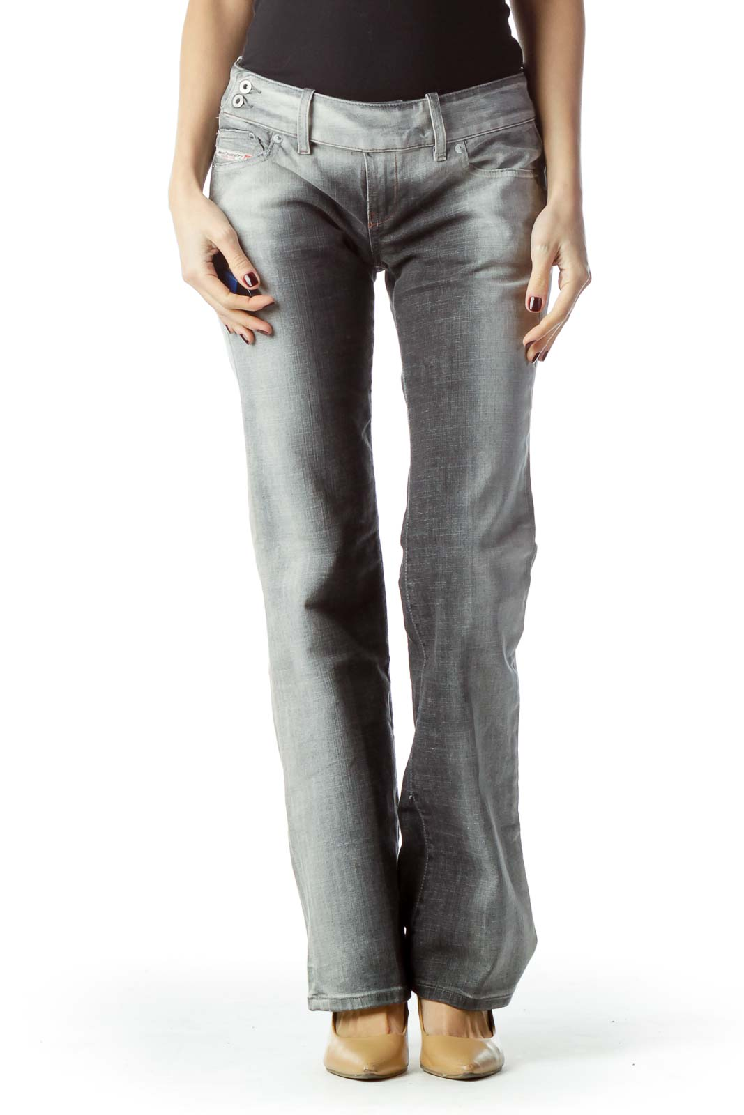 Two-Tone Gray Denim Jeans