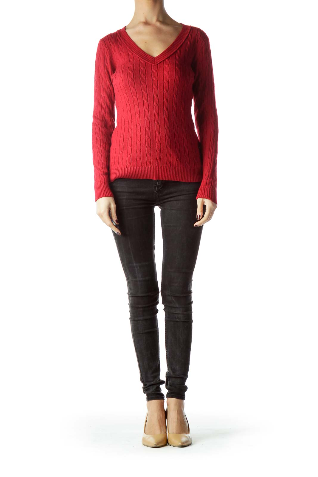Red V-Neck Cable-Knit Stretch Sweater