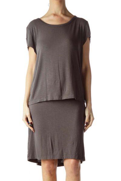 Gray Short Sleeve Layered Jersey Dress