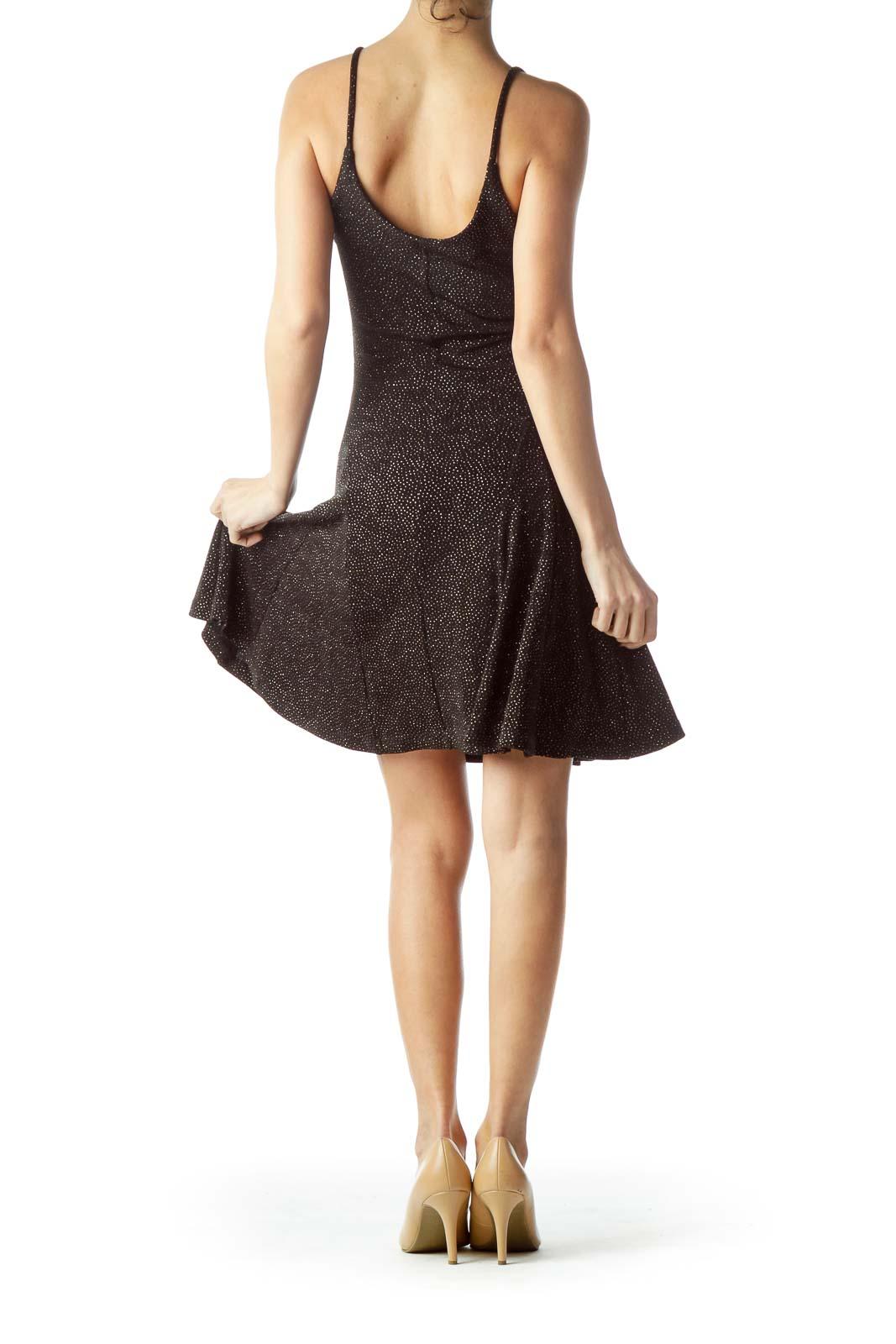 Black Tiny Gold Dots on Body Flared Dress