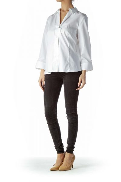 White 100% Cotton Collared Shirt
