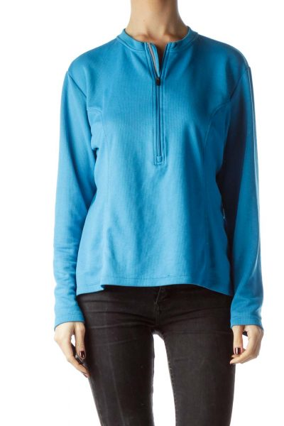 Teal Blue Front Zipper Stretchy Sports Jacket