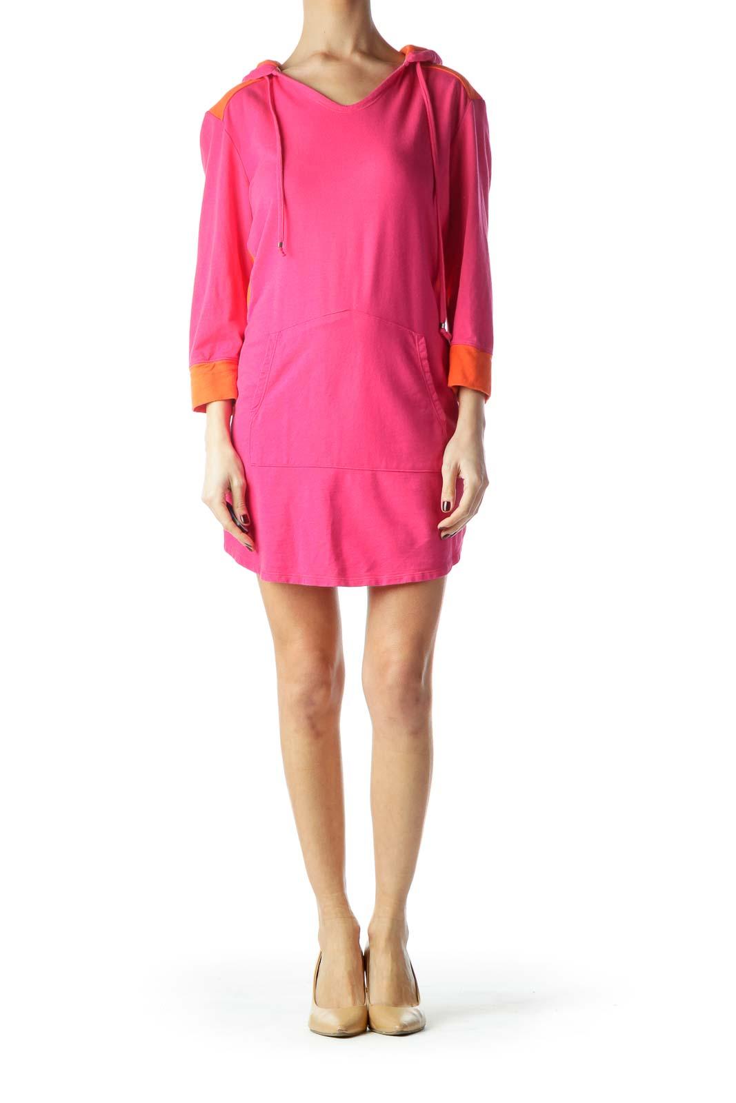 Hot Pink Orange Color Block Pullover Hooded Dress