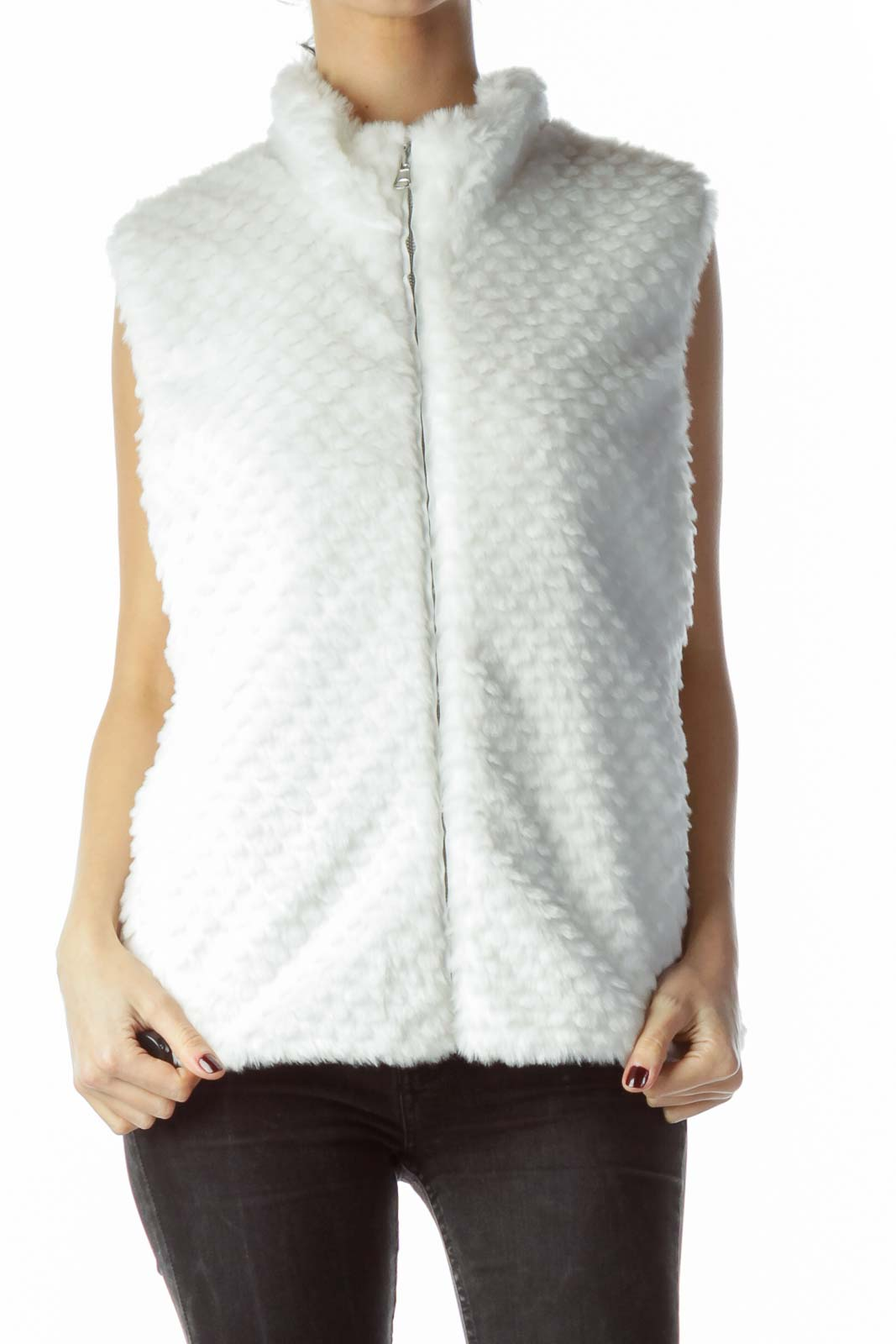 White Zippered Pocketed Faux-Fur Vest