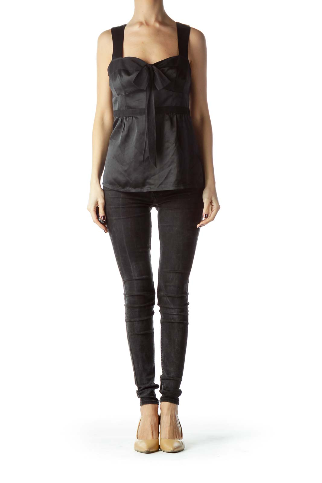 Black Front Bow Detail Sleeveless Silk Top