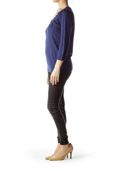Navy Blue 100% Cotton Long Sleeve Knit Top