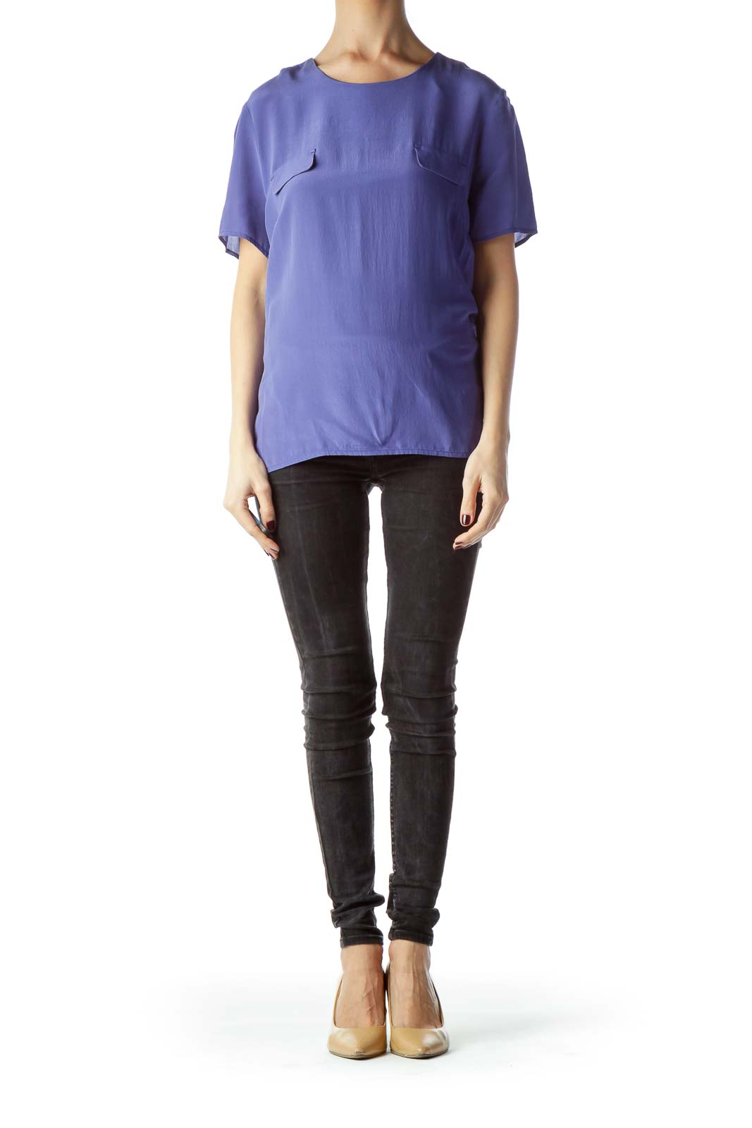 Blue Short Sleeve 100% Silk Blouse