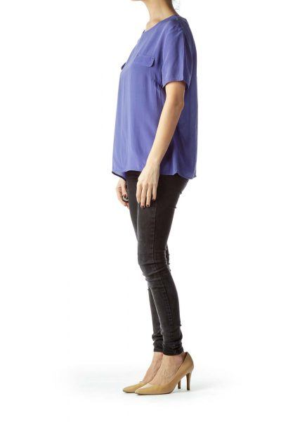 Blue Short Sleeve 100% Silk Blouse