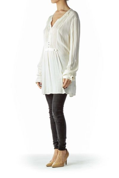 Cream Star Studs Long-Sleeve Flared Blouse