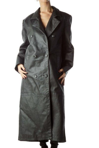 Black Double-Breasted Leather Long Coat