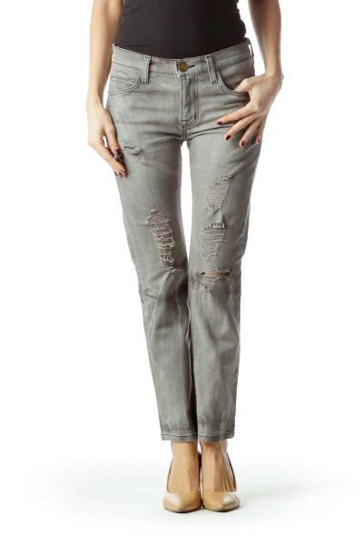 Gray Light-Wash Distressed Skinny Denim Jeans