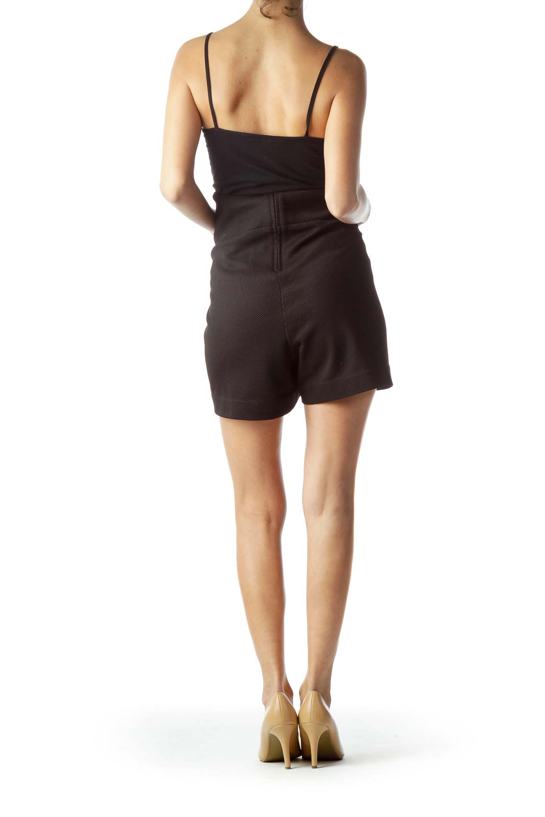 Black Textured Stretch Shorts