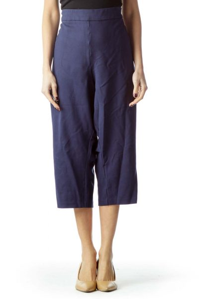 Navy Blue Cropped Pants with White Buttons
