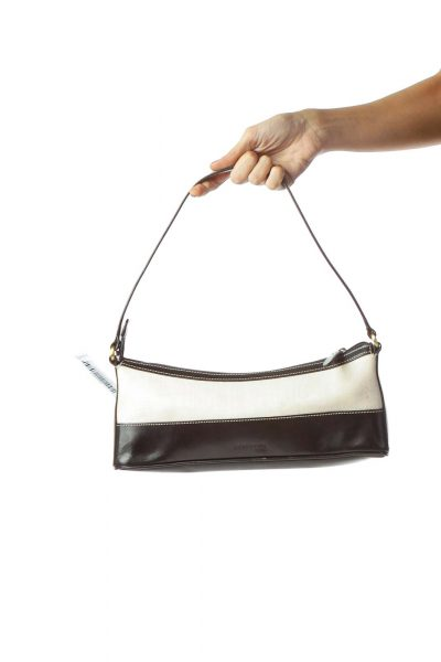 Black Cream Textured Cut-Out Logo Shoulder Bag