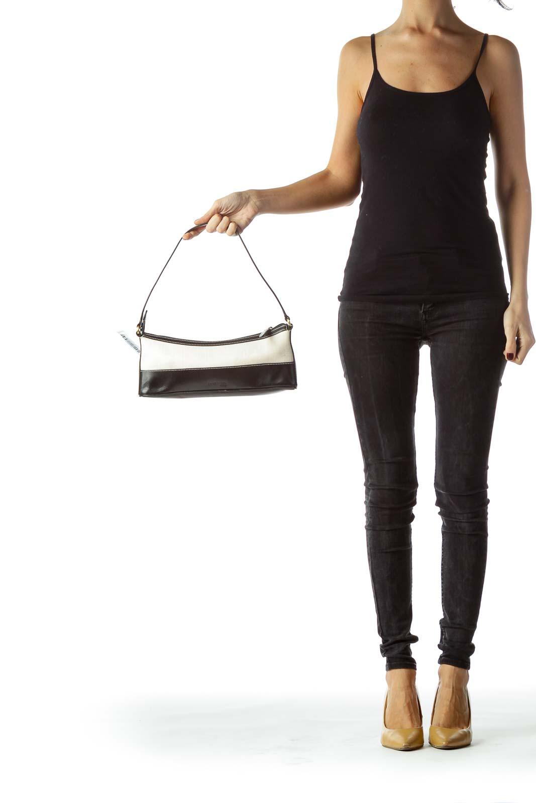 Black Cream Textured Cut-Out Logo Shoulder Bag