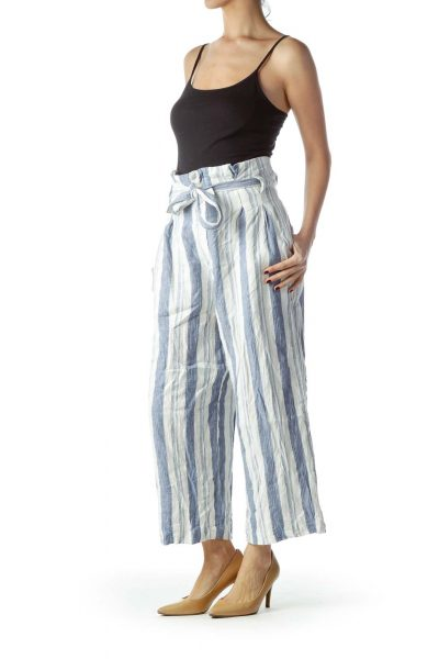 Blue White Striped High-Waisted Belted Pants