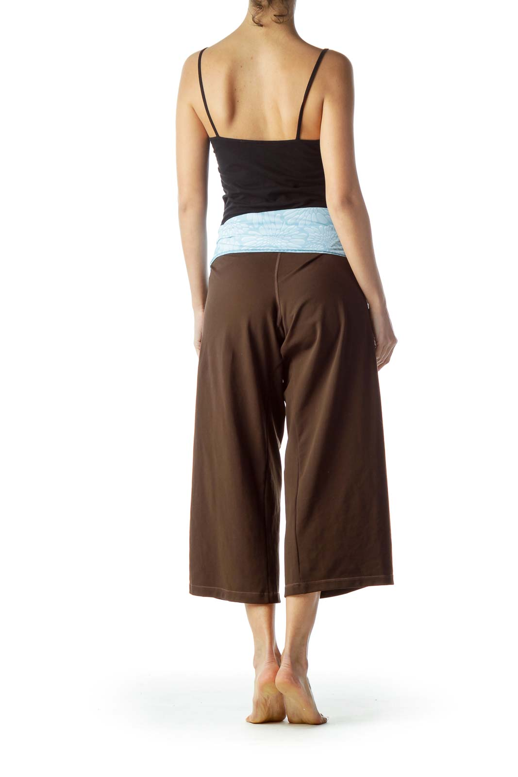 Brown Light Blue Waist StretchCropped Pants