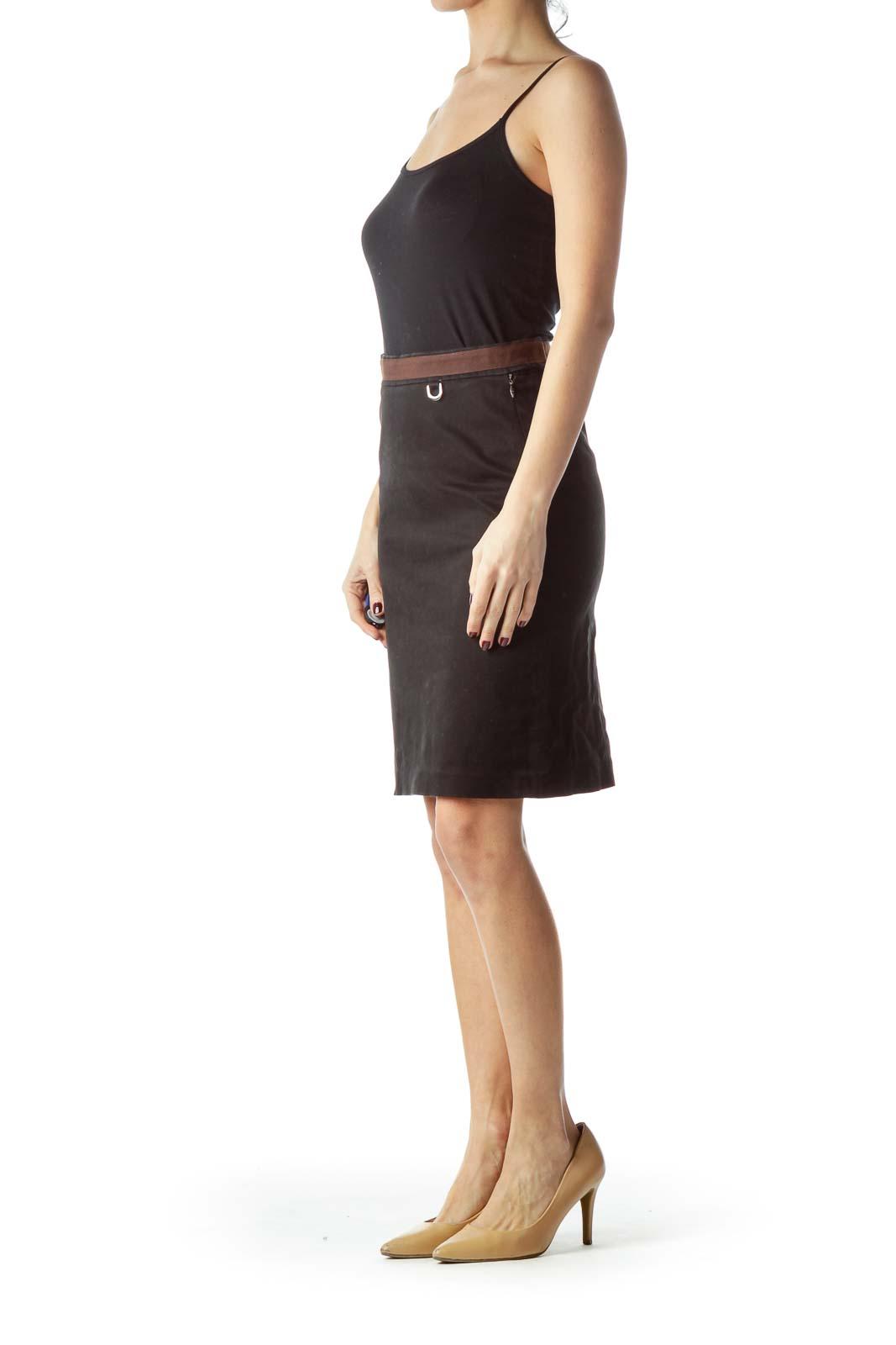 Black Brown Waist Pencil Skirt