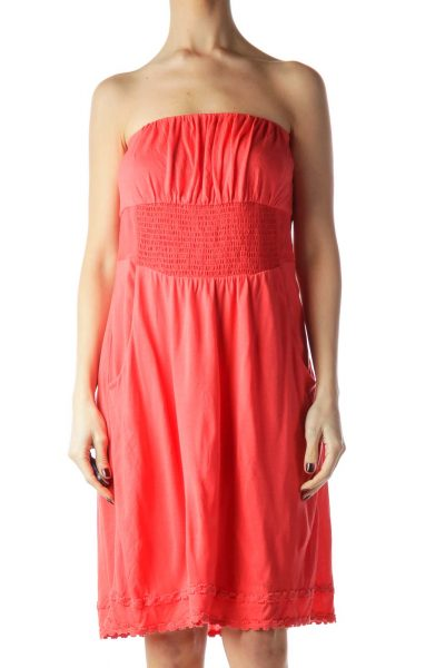 Coral Orange Jersey-Knit Strapless Dress
