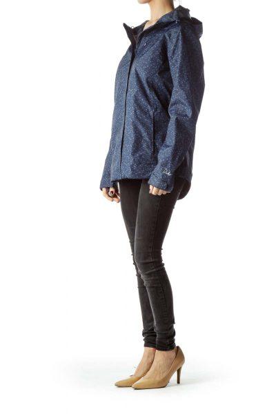 Blue Geometric Print Hooded Rain Jacket