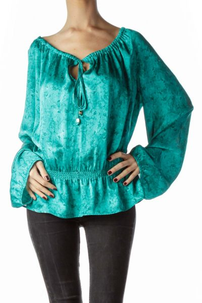 Teal Blue Water Print Open Neck Flared Top