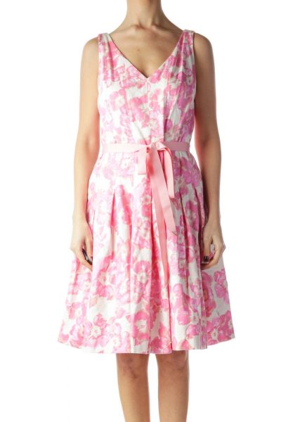 Pink Floral Print Belted Lower Pouf Dress