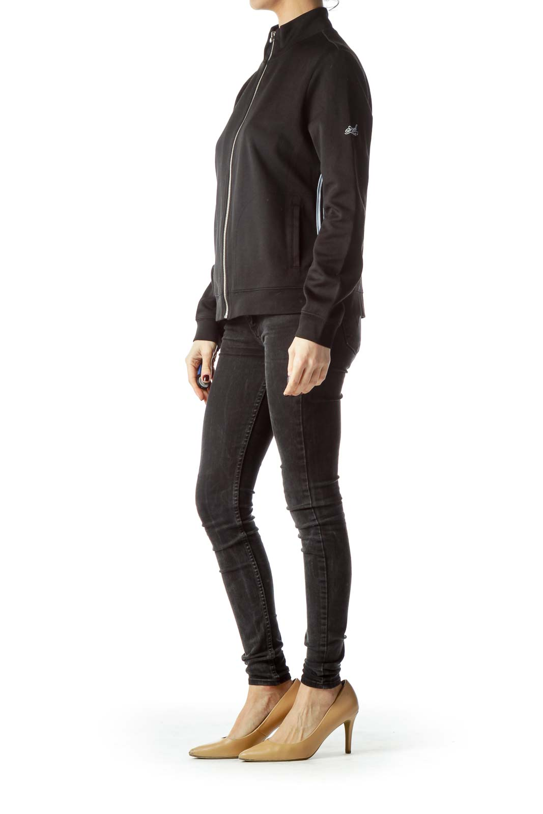 Black Track Stripes Zippered Stretch Jacket