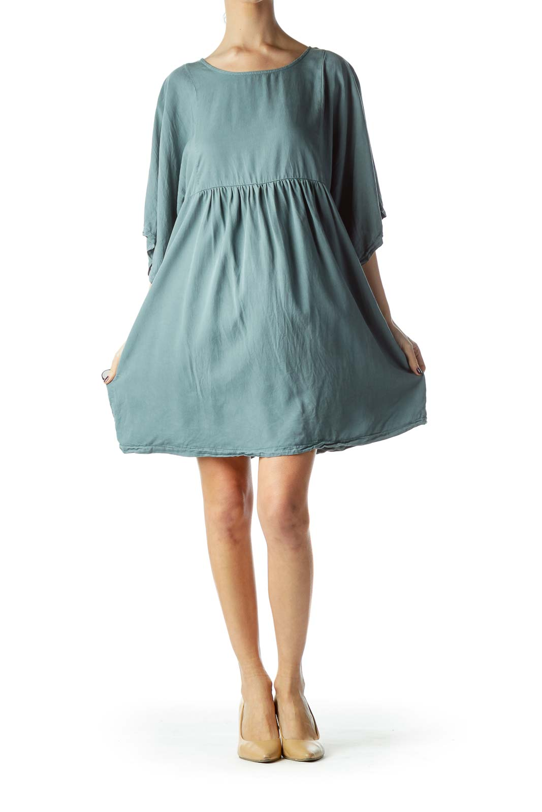 Washed Green Empire Waist Flared Dress