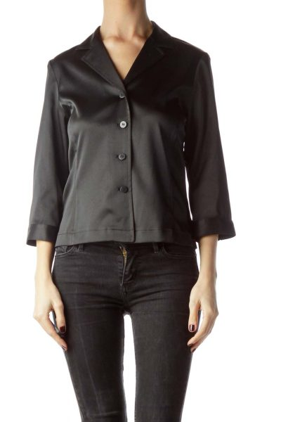 Black Collared Shiny Buttoned Stretch Shirt