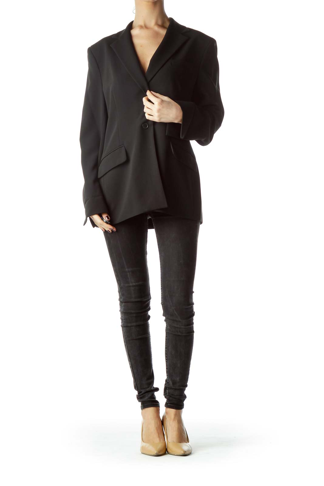 Black Collared Pocketed Cuffed Sleeves Blazer