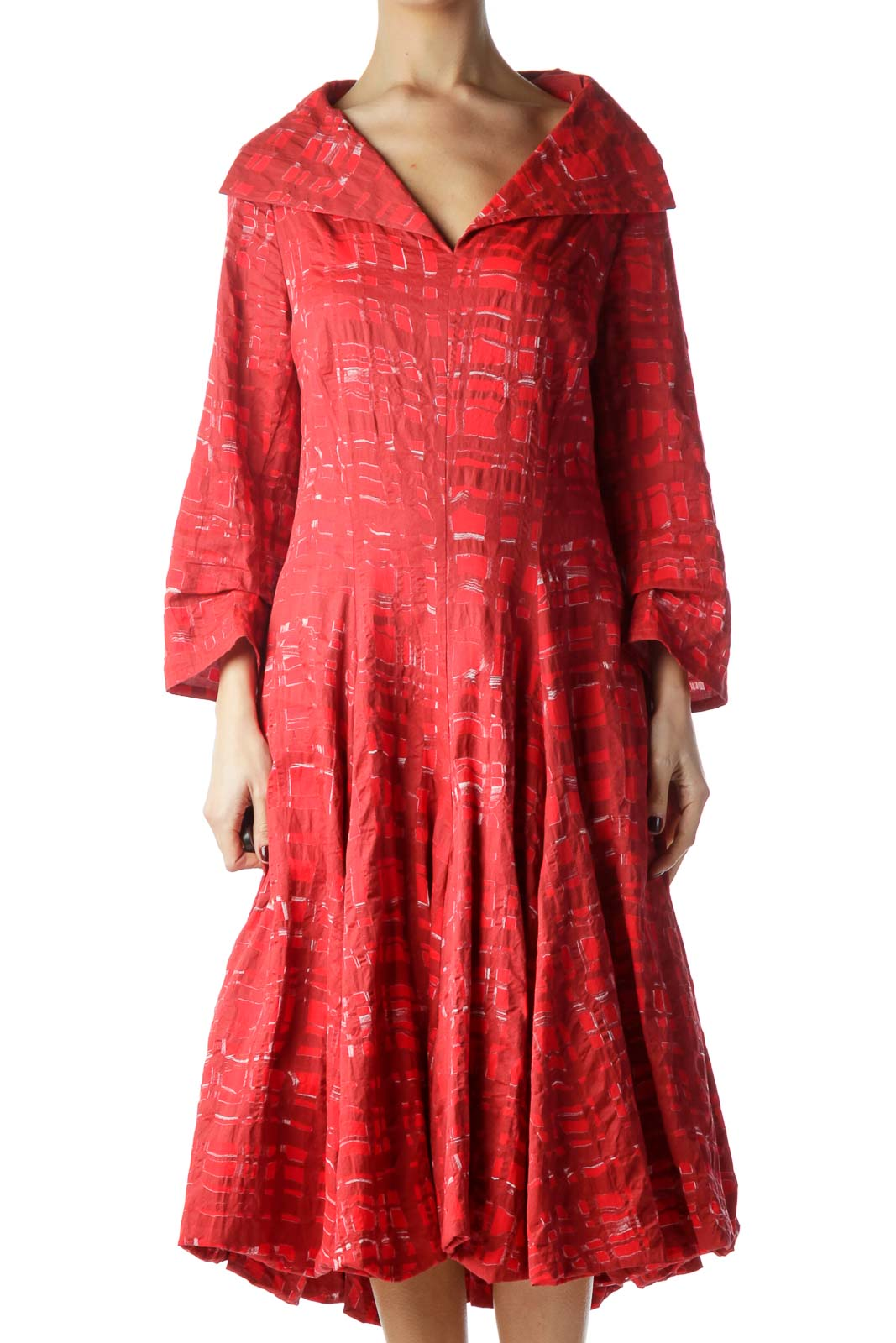 Red Printed Collared Long Sleeve Dress