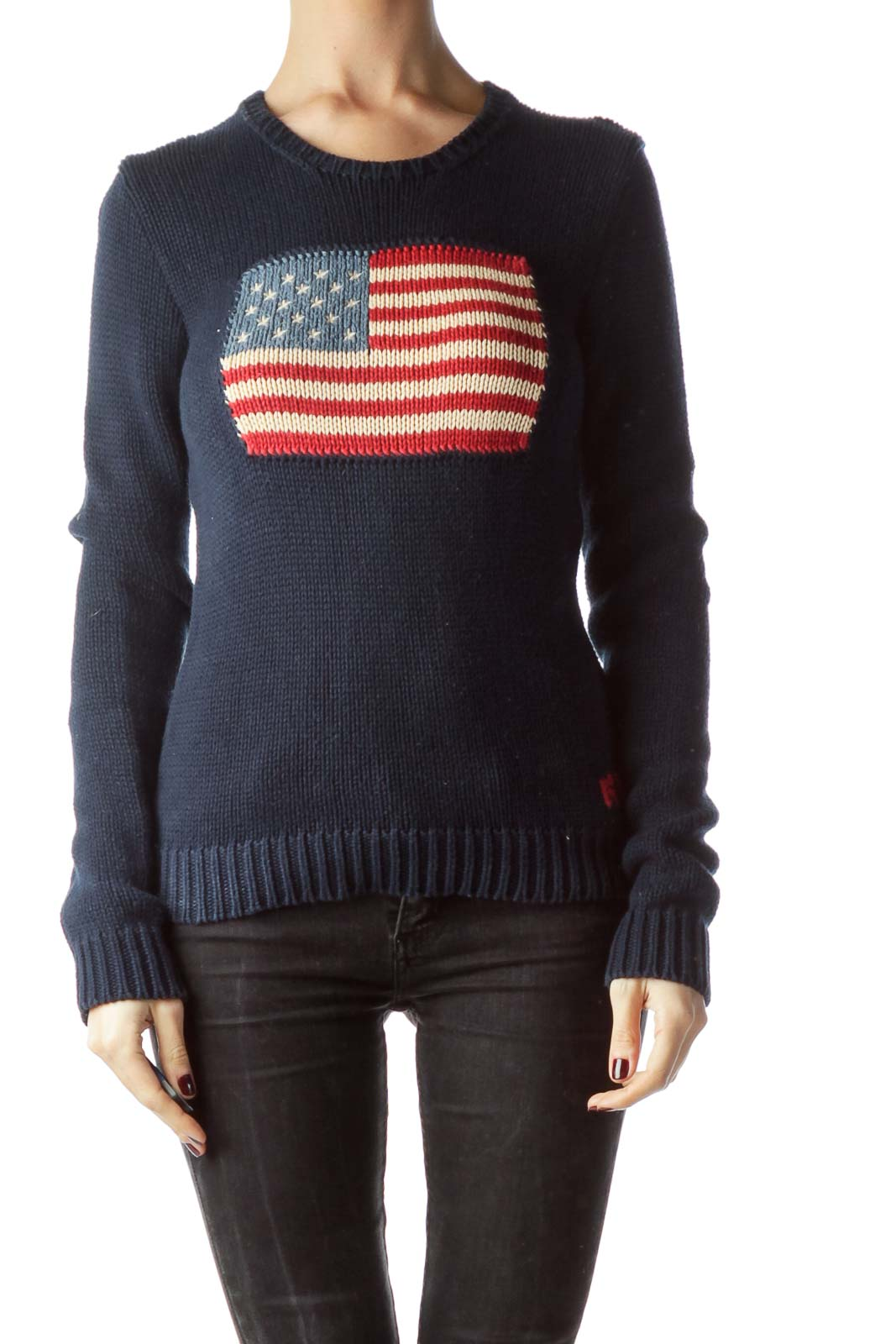 Navy Blue 100% Cotton Knitted Flag Sweater