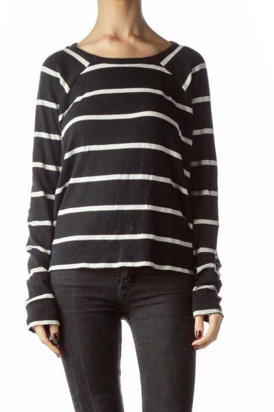 Black Cream Striped 100% Cotton Stretch Top ... d5b9a8142b