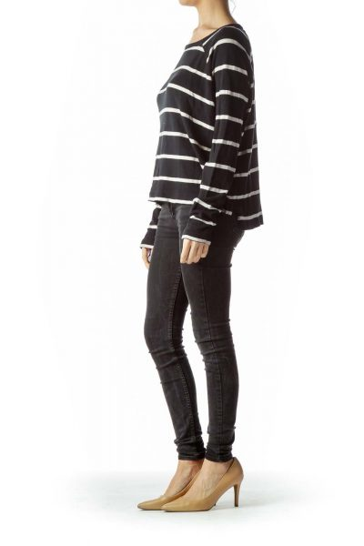 Black Cream Striped 100% Cotton Stretch Top