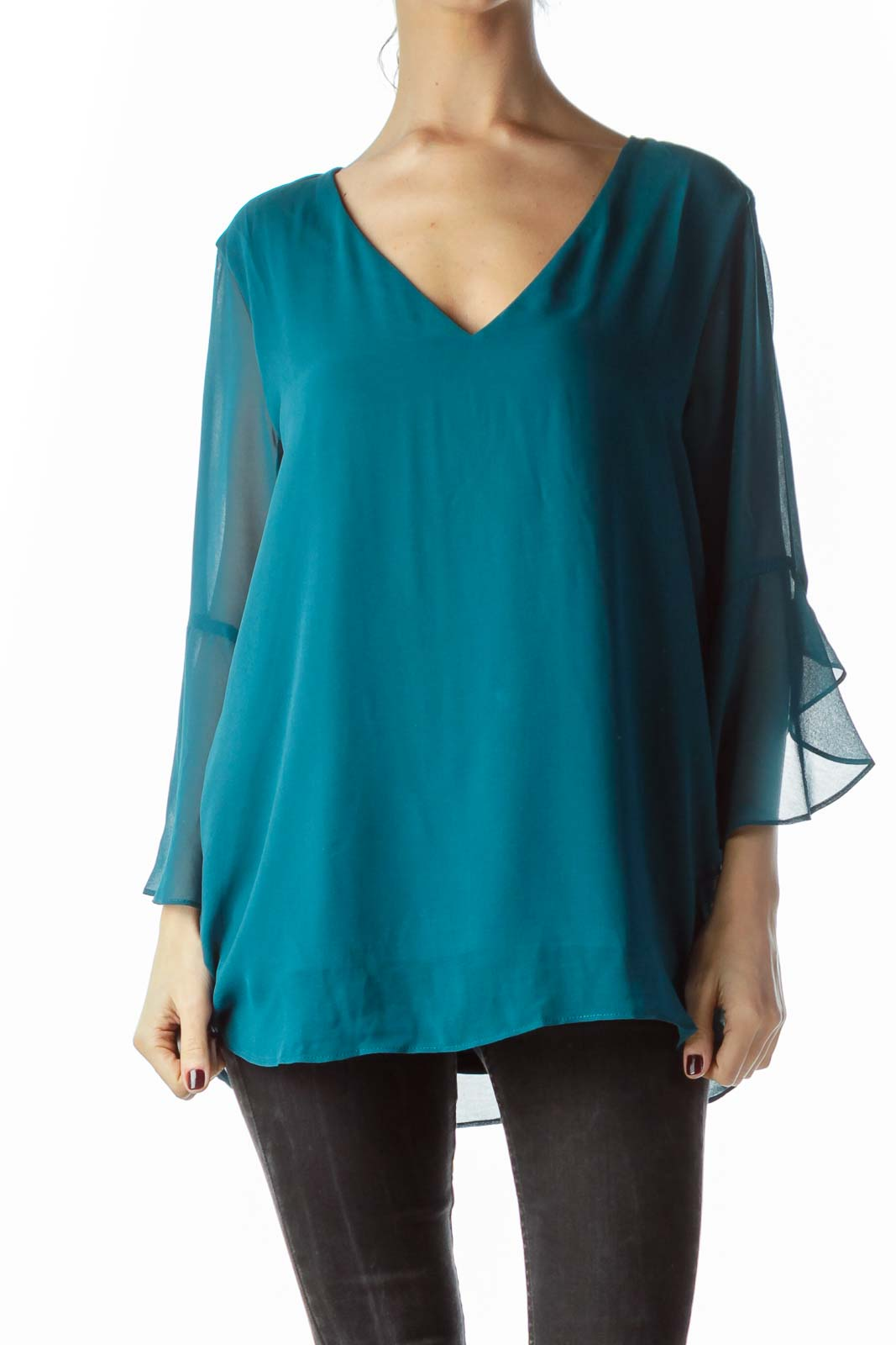 Teal Blue V-Neck Flared Blouse