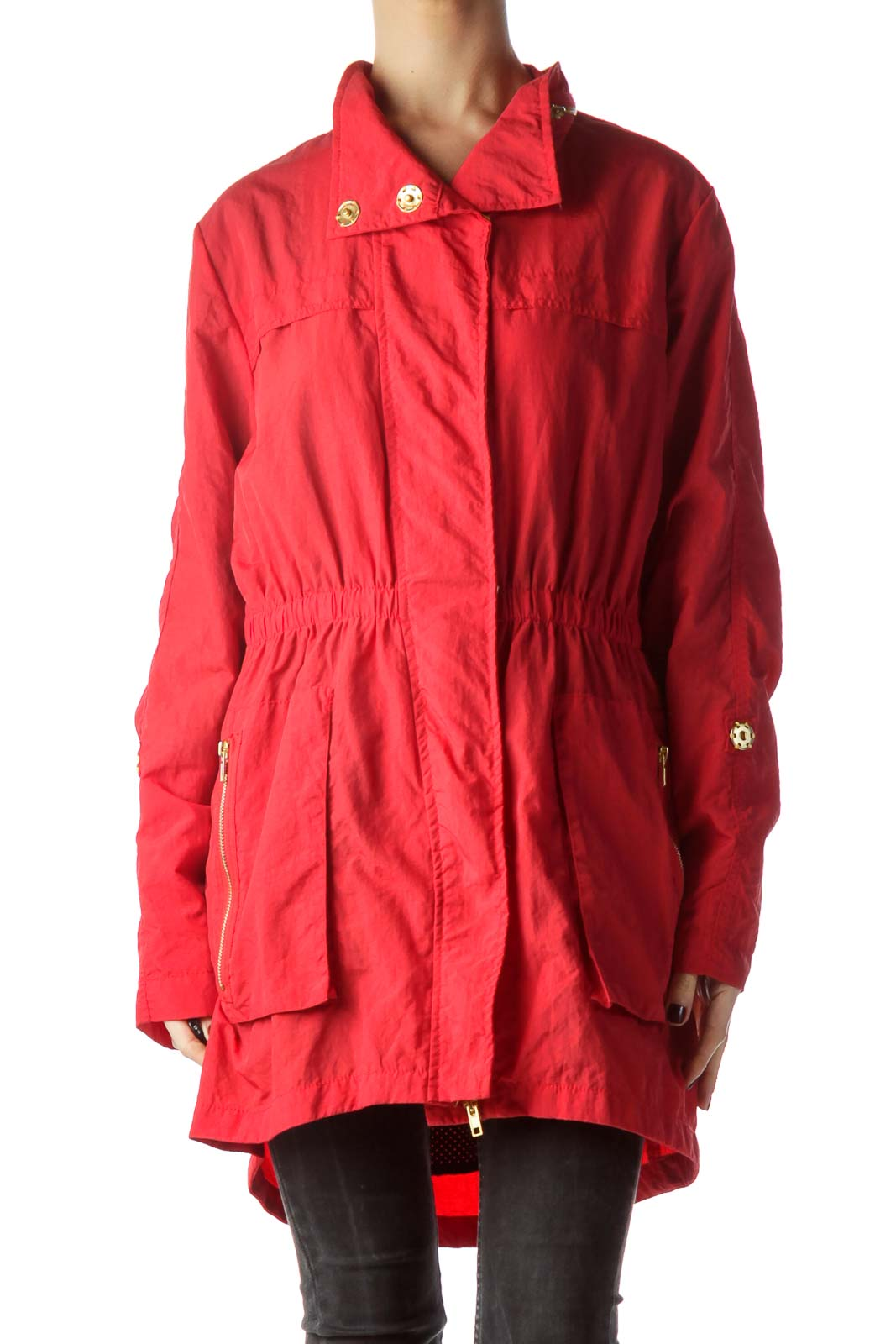 Red Gold Zippers and Buttons Long Jacket