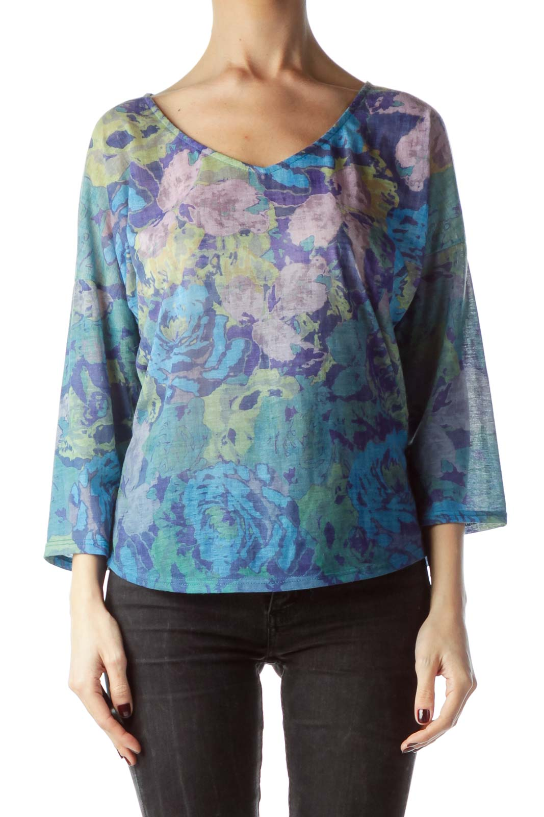 Multicolored Floral Print V-Neck Top