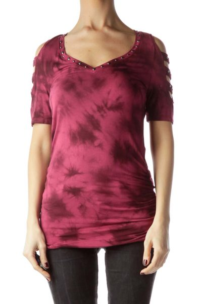 Burgundy Studded Water Print Jersey-Knit Top