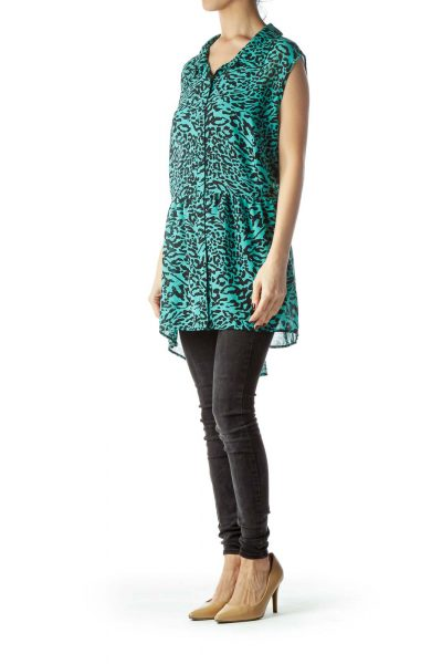 Mint Green Black Animal Print Flared Blouse