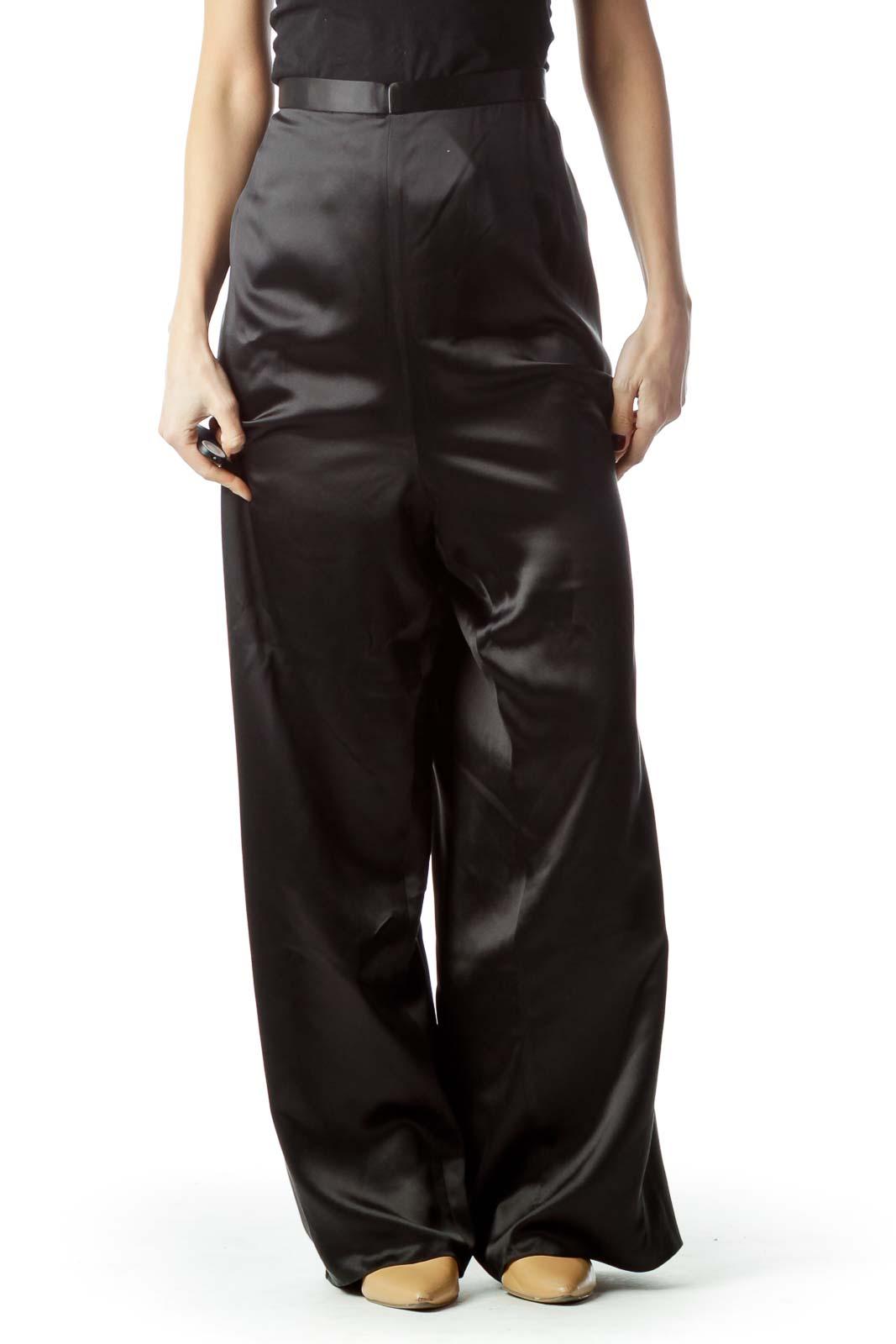 Black Shiny Zippered 100% Silk Pants