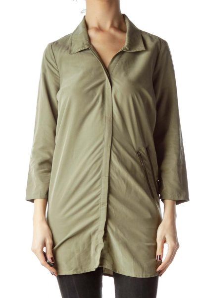 Army Green Long Shirt with Zipper Accents