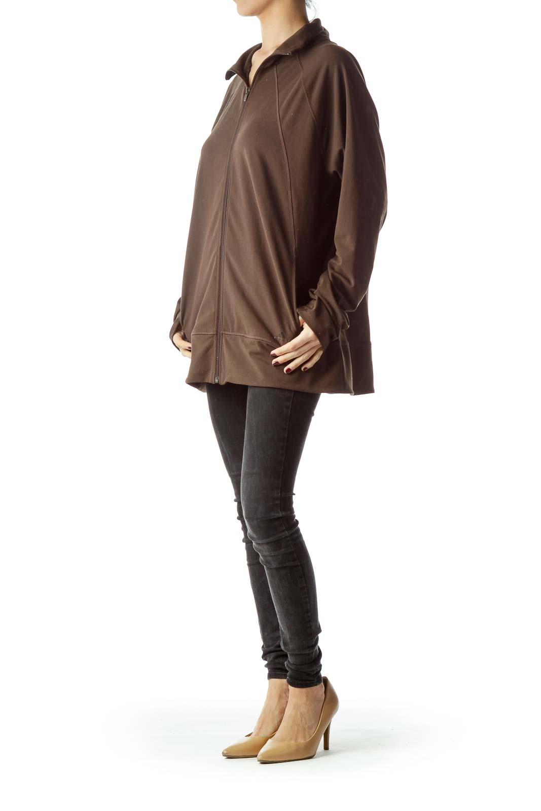 Brown Zippered Pocketed High-Neck Jacket