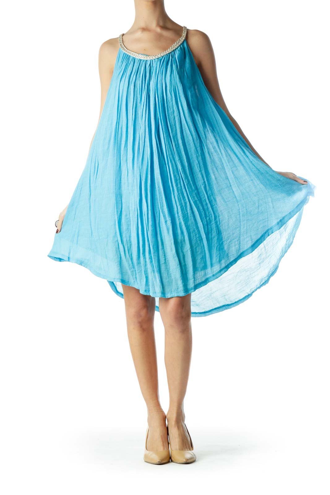 Turquoise Blue Halter Neckline Flared Dress