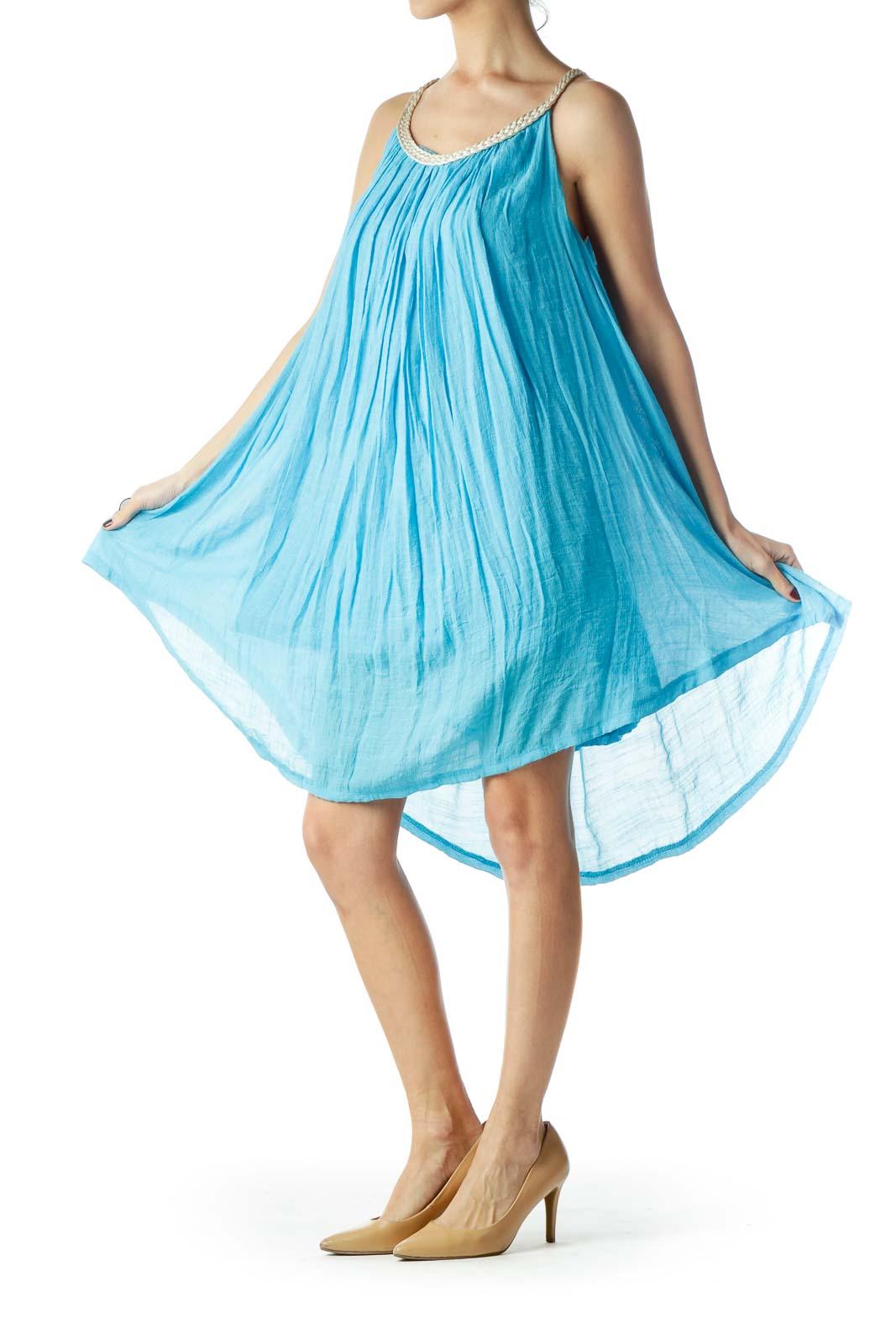 Turquoise Blue Halter Neckline Flared Dress