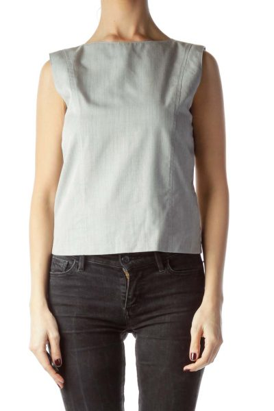 Gray Zippered Tank Top Blouse