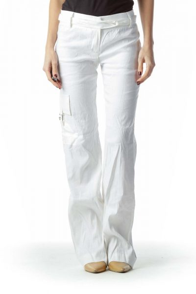 White Belted Linen and Cotton Pants