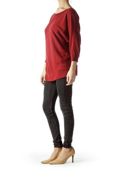 Red Round Neck Bat Sleeve Sweater