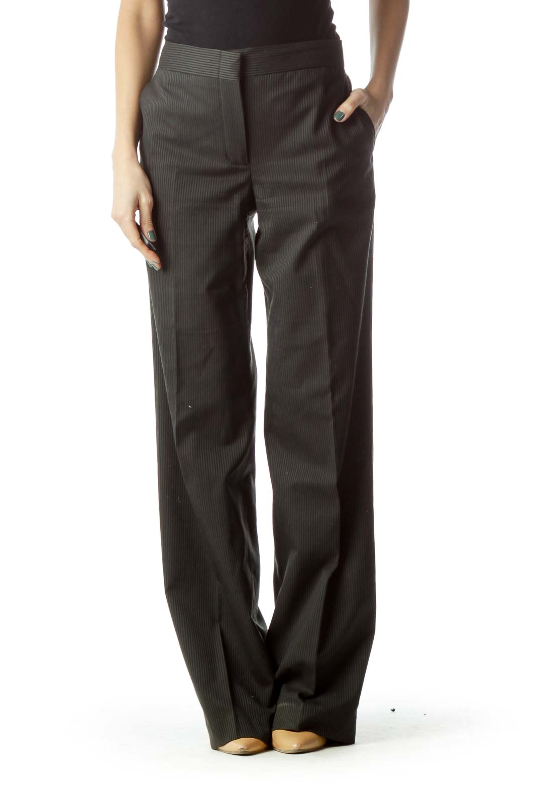 Grey Pinstripe Wide-Leg Slacks