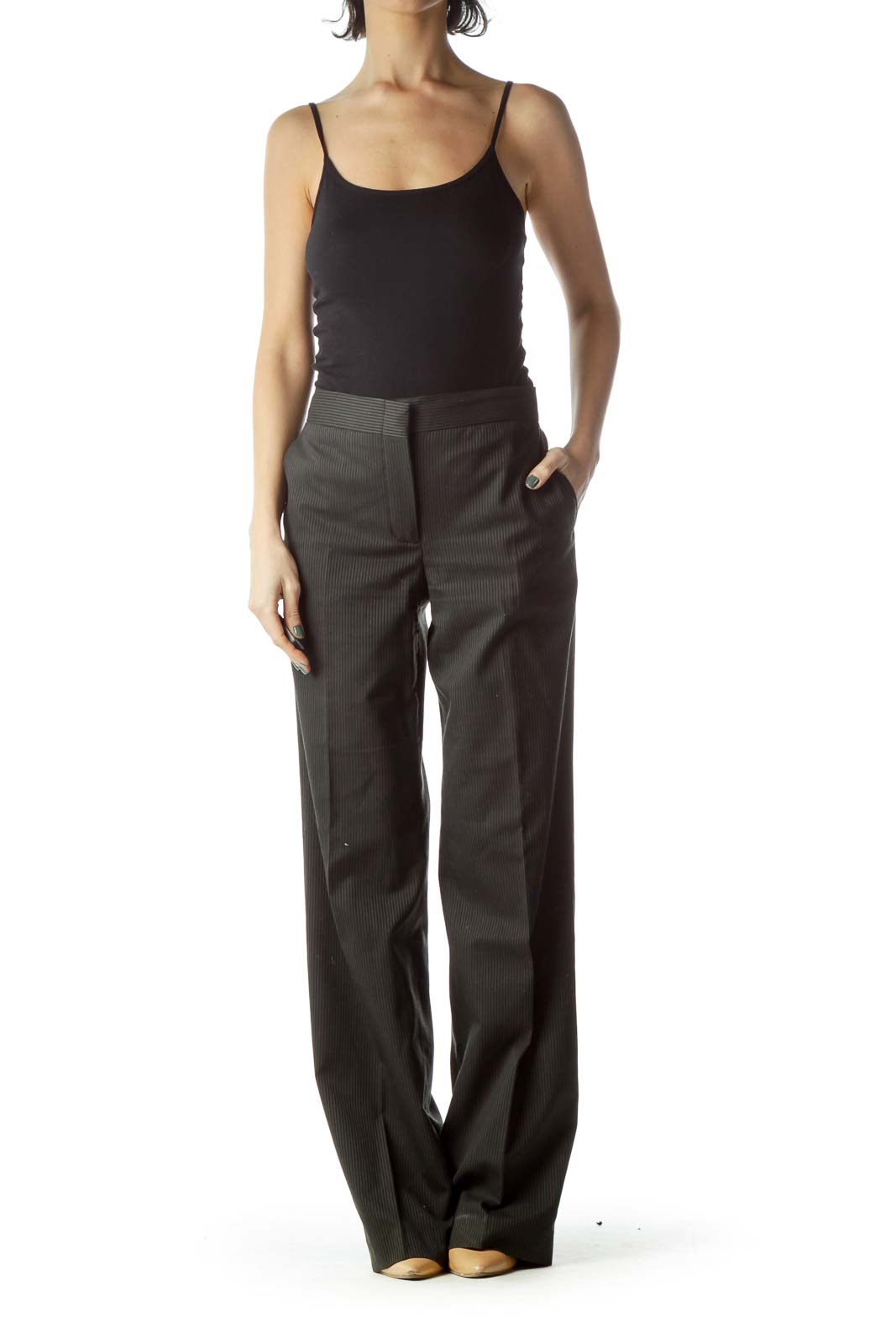 Grey Pinstripe Wide-Leg Slacks